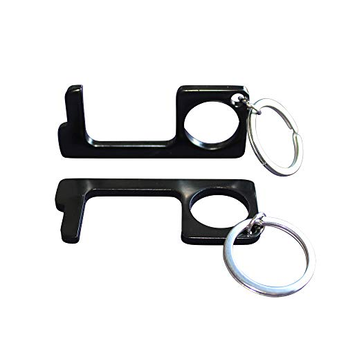 Black No Touch Anti-Viral Brass Door Opener, Contactless Tool, Avoid Touching Surfaces, Hygiene Tool with Keychain (Pack of 2)