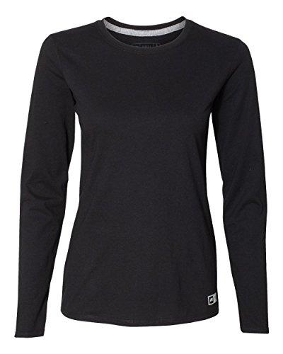 Russell Athletic Women's Medium Cotton Performance T-Shirts, Long-Black