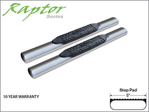 Raptor Series 0802-0101M 5 inch Oval Stainless Side Bar Steps For 02-08 Dodge Ram 1500 03-09 Ram 2500/3500 Regular Cab