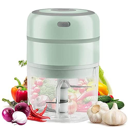 Küche Zerkleinerer Elektrisch, Mini Knoblauchhacker 250ML, Zwiebelschneider mit USB-Aufladung und 3 Scharfen Klingen, Gemüsezerkleinerer Küchenmaschine für Knoblauch Gemüse Obst