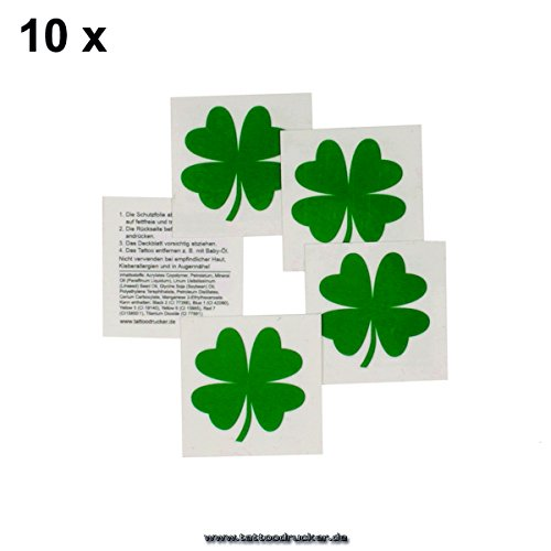 10 x Kleeblatt Tattoo - Cheerleader Tatttoo - Glückstattoo - Glücksbringer (10)