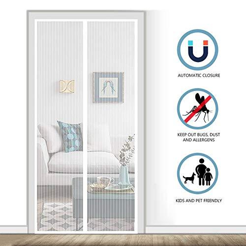 AMCER Der Magnetvorhang 100x235cm, Insektenschutz tür, Automatisch Verschließen Einfach zu montieren, Für Balkontür und Terrasentür - Weiß