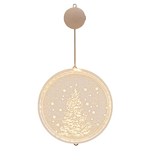 Jchen Christmas Hanging Decorations,Merry Christmas 3D Disc Hanging Lights LED Christmas Lights Room Decoration Lights for Home Holiday Decoration (F)