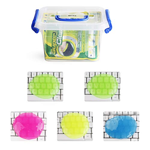 Keyboard Cleaner BEDEE (5pcs)+ Storage Box Cyber Cleaning Gel Electronics Clean Putty Slime Home Office Remove Dust, Hair, Crumbs,Dirt from Computer Laptop Keypad, Car, Calculator, Air Vent, Fan,400G
