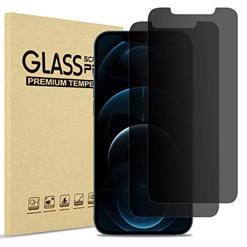 (2 Stück) ProCase Privacy Panzerglas für iPhone 12 Pro Max 6.7 Zoll, Anti-Spy Gehärtetes Glas Blickschutz Sichtschutz Folie Blickschutzfolie Displayschutzfolie für iPhone 12 Pro Max