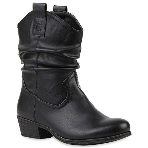 Damen Cowboy Boots Leder-Optik Stiefeletten Blockabsatz Stiefel Schuhe 114131 Schwarz 36 Flandell