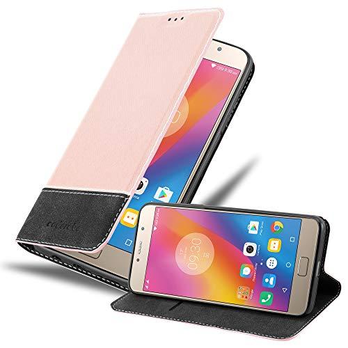 Cadorabo Hülle für Lenovo P2 in ROSÉ Gold SCHWARZ - Handyhülle mit Magnetverschluss, Standfunktion & Kartenfach - Hülle Cover Schutzhülle Etui Tasche Book Klapp Style