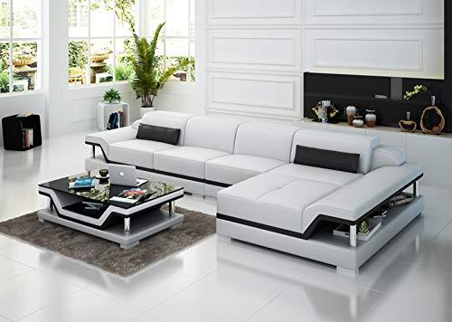 JVmoebel Design 8004C - Divano in pelle con imbottitura ad angolo, per divano e divano