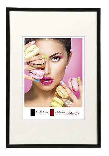 Ideal Trend Photo Style Kunststoff Bilderrahmen 20x20 cm bis 50x70 cm DIN A4 A3 Fotorahmen: Farbe: Schwarz | Format: 21x29,7 DIN A4