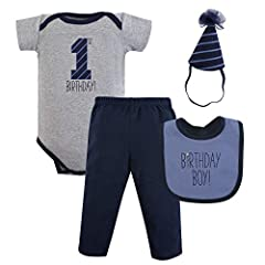 Set includes bodysuit, pant, bib and birthday crown/hat Made with 100% cotton (except birthday crown/hat) Soft, gentle and comfortable on baby's skin Perfect first birthday outfit Affordable, high quality set