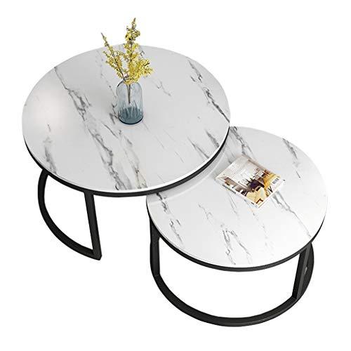 JJHOME-Muebles Mesa de Centro en Blanco y Negro Conjunto Combinado Mesa Auxiliar, Mesas de salón con Base de Metal con encimera de mármol, Mesa de anidación apilable