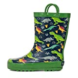 Horalah Kids Rain Boots, Toddler Rubber Printed Boots with Easy-On Handles