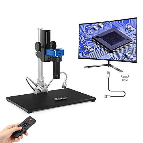 LINKMICRO Digital Microscope 4K HDMI Precision High Definition 14 Million Pixels Ultra HD Photo Record Soldering Parts Inspection PC Repair Metal Stand Remote Control LED Light 1 Year Warranty
