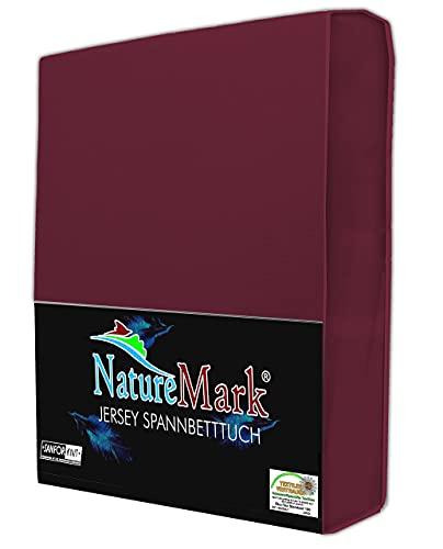 NatureMark Jersey Spannbettlaken, Spannbetttuch 100% Baumwolle in vielen Größen und Farben MARKENQUALITÄT ÖKOTEX Standard 100   180 x 200 cm - 200 x 200 cm - Bordeaux rot