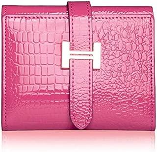 Fashion Women Wallets PatentAlligator Pattern Hasp Short Wallet Genuine Leather Female Small Purse Red