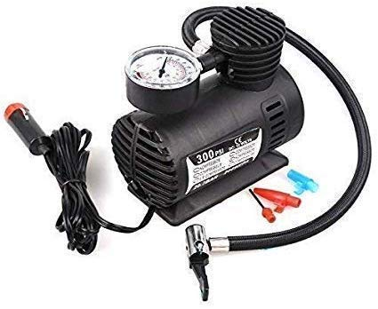 Juhi Collection Electric Air Compressor Inflator Pump for car, Bike, tubeless tyre. 12V 300 PSI air Pump for Bicycle, Football, Basketball (Black)