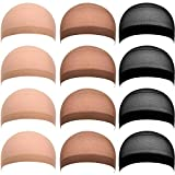 eBoot 12 Pack Nylon Wig Caps for Women and Men (Black, Natural Beige and Light Brown)