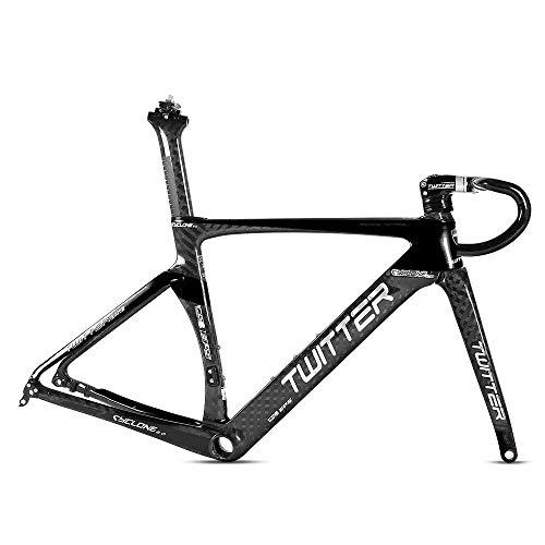 Dfghbn Cadre de vélo avec frein à disque 2.0 et fourche avant en fibre de carbone - Bol de groupe intégré - Tige avant et arrière à libération rapide - Cadre en fibre de carbone à pignon fixe