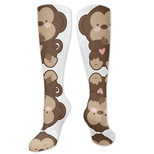 ~ Cute Baby Monkey Clipart Polyester Cotton Over Knee Leg High Socks Sexy Unisex Thigh Stockings Cosplay Boot Long Tube Socks for Sports Gym Yoga Hiking Cycling Running Football