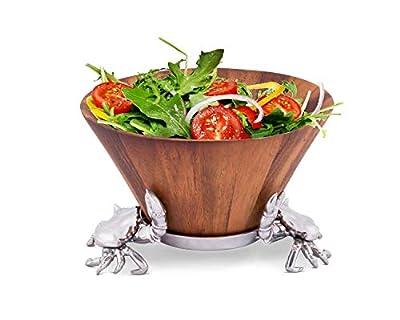 "Arthur Court Designs Acacia Wood Salad Bowl with Aluminum Crab stand 12"" Diameter"