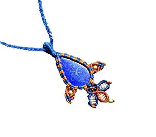 Collar de macramé de lapislázuli con colgante de piedra preciosa de lapislázuli azul natural, hecho a mano, bohemio, hippie, yoga, collar tribal