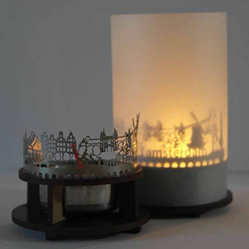 13gramm Amsterdam-Skyline Windlicht Schattenspiel Premium Geschenk-Box Souvenir, inkl. Kerzenhalter, Kerze, Projektionsschirm und Teelicht