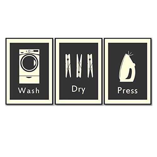 CHENSHU Canvas Painting Laundry Retro Wall Art Carteles e Impresiones Imágenes nórdicas de Pared para decoración de baño 40x50cm (15.7x19.6 Pulgadas) Sin Marco Negro