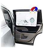 ggomaART Car Side Window Sun Shade - Universal Reversible Magnetic Curtain for Baby and Kids with Sun Protection Block Damage from Direct Bright Sunlight, and Heat - 1 Piece of Lion
