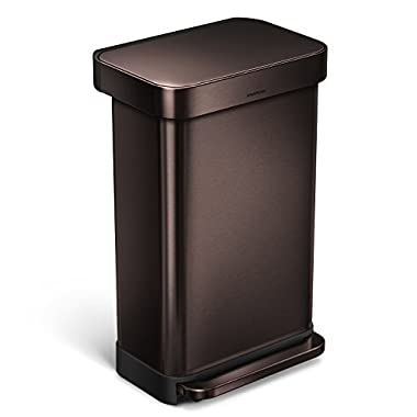 simplehuman 45 Liter/12 Gallon Stainless Steel Rectangular Kitchen Step Trash Can with Liner Pocket, Dark Bronze Stainless Steel
