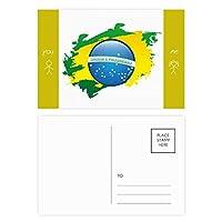 ブラジルフラグの文化要素の地図 友人のポストカードセットサンクスカード郵送側20個