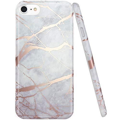 JIAXIUFEN Shiny Rose Gold Gray Marble Design Silicone Gomma TPU Ultra Leggera Chiaro Flessibile Sottile Molle Cover Compatibile con iPhone 7 / iPhone 8