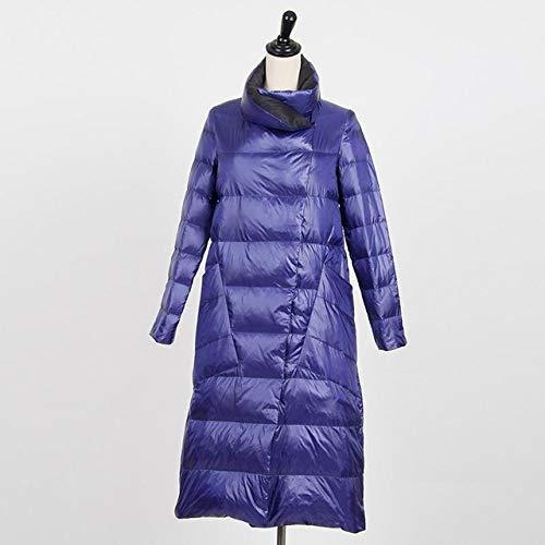 WFSDKN Damen Parka White Duck Down Doppelseitige Jacke Damen Plus Size Snow Outwear Winter Slim Ultraleichter Daunenmantel Einreiher Parkas, Blau, S