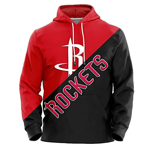 Tracy McGrady No.1 Houston Rockets Couples Basketball Hoodie Unisex Pop Long Sleeve Pullover Sweatshirt (Color : B, Size : L)