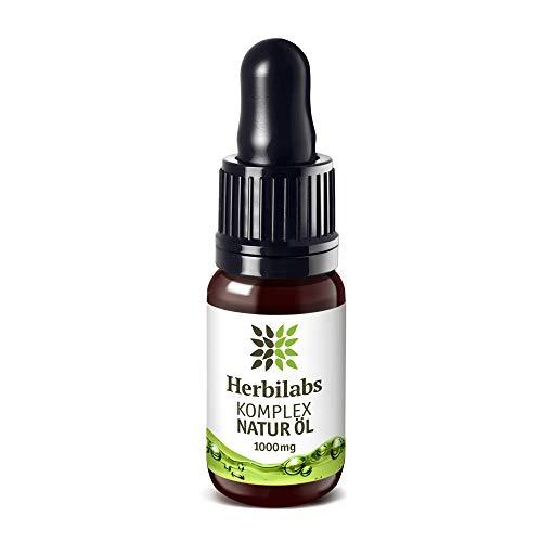 Herbilabs Komplex Premium - Gotas de aceite natural - Semillas de cáñamo 1000 mg | Producto ecológico vegano con certificado | Ingredientes de cultivo controlado