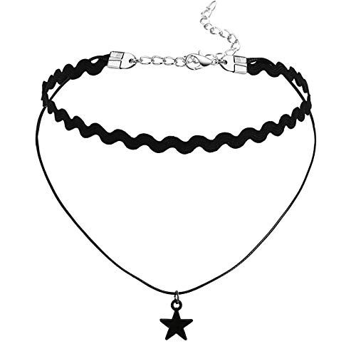 Adokiss Jewellery Choker Gothic Lace Star Choker Collar, Black, Length 31 + 7.5 cm, Collar for Teen Girls Women
