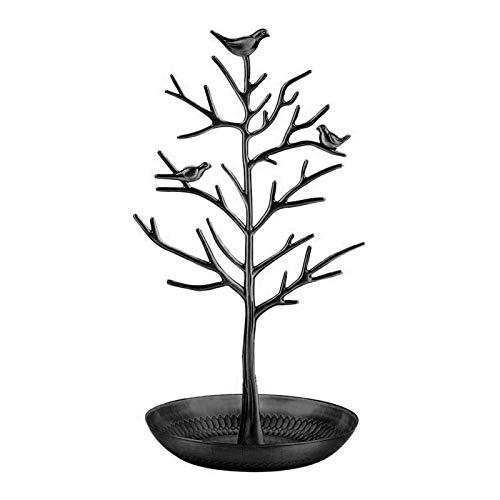 Organizador de árbol de joyería, de aleación para aretes, collares, anillos, color negro
