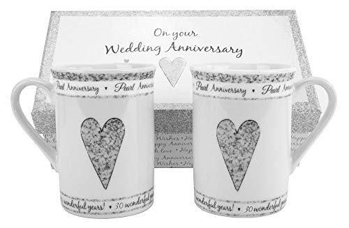 30th Pearl Wedding Set Ceramic Mugs