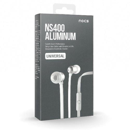 Nocs NS400U-102 - Auriculares intraurales universales con micrófono, control remoto y almohadillas de repuesto, color blanco