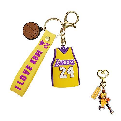 HinchJone 2Pcs NBA Memorial Keychain Lakers Basketball Superstar Jersey Design Silica Gel Souvenir for Fans Backpack Trunk (Yellow)