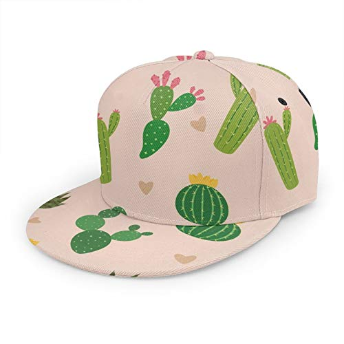 Unisex-Baseballkappe, Hip-Hop, Snapback, flacher Hut, modischer Sonnenhut für Outdoor-Aktivitäten, nahtloses Muster vieler Kaktus mit Mini-Herz