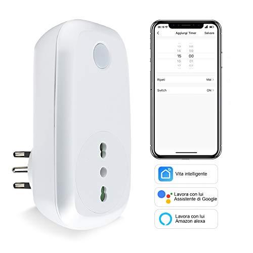 Presa Intelligente Wifi Italiana Smart Plug Spina Energy Monitor 16A 3600W, EXTRASTAR Funzione di Timer Compatibile con Amazon Alexa, Google Assistant e IFTTT, Controllo Remoto via Andriod iOS App.