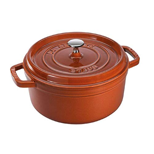Staub 1102285 Cocotte/braadpan, rond met deksel 22 cm, 2,6 L, met matzwart geëmailleerd aan de binnenkant van de pan