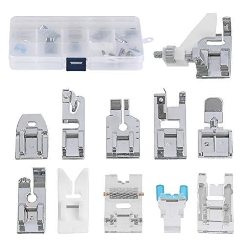 FOCCTS Kit de 11pcs pies Prensatela Accesorios Profesionales Multifunción Pedales para Máquinas de Coser para Máquina de Coser
