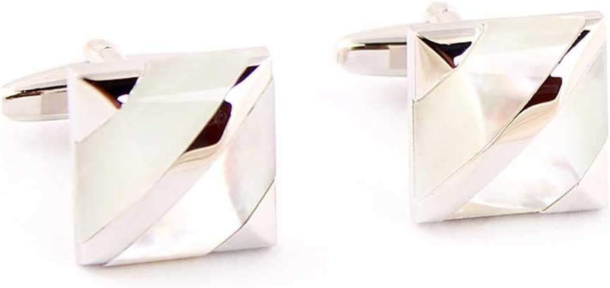 HXF Clean White Gemstone Men's Cufflinks Twill White Cufflinks French Shirt Shirt Button Neat