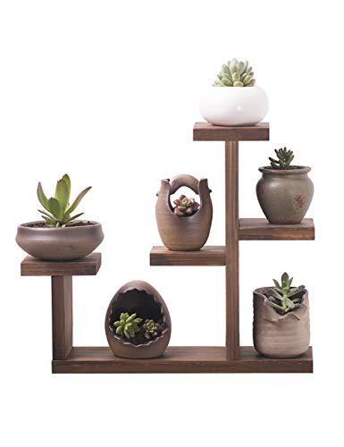 Pas besoin de poinçonner, style japonais Mini-support de fleurs simple Sol en bois massif pour la maison Plancher de fleurs Fenêtre Sill Balcon Protection de l'environnement intérieur Plante de bureau