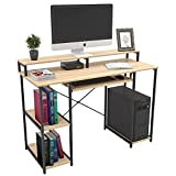 """TOPSKY Computer Desk with Storage Shelves/23.2"""" Keyboard Tray/Monitor Stand Study Table for Home Office(46.5inch, Natural)"""