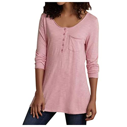 HGWXX7 Women's Tops Casual Button Up Plus Size Tops Long Sleeve T Shirt Pocket Tunic Blouse Pink