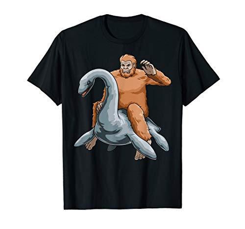 Bigfoot Riding Nessie Loch Ness Monster Sasquatch T-Shirt