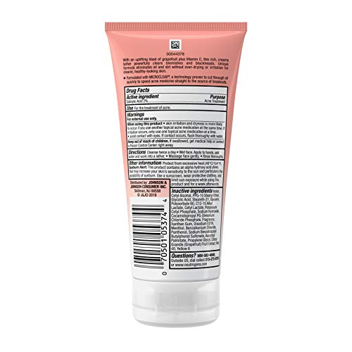 Neutrogena Oil-Free Acne Wash Pink Grapefruit Cream Facial Cleanser,...
