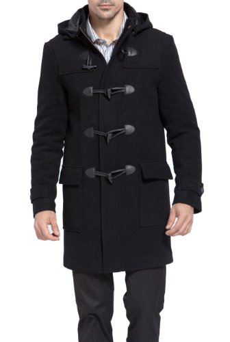 BGSD Men's Benjamin Wool Blend Classic Duffle Coat Black X-Large